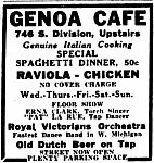 Genoa Cafe and Roma Hall Advertisement