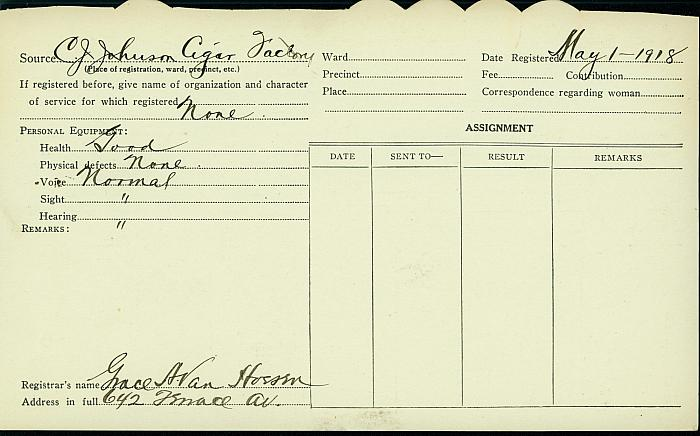 Agnes Bell Registration Card, back