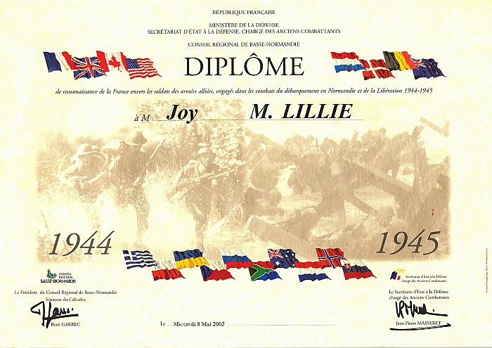 French Government Diploma Presented to Joy Lillie for her Service During WWII