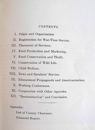 History of the Woman's Committee, Contents