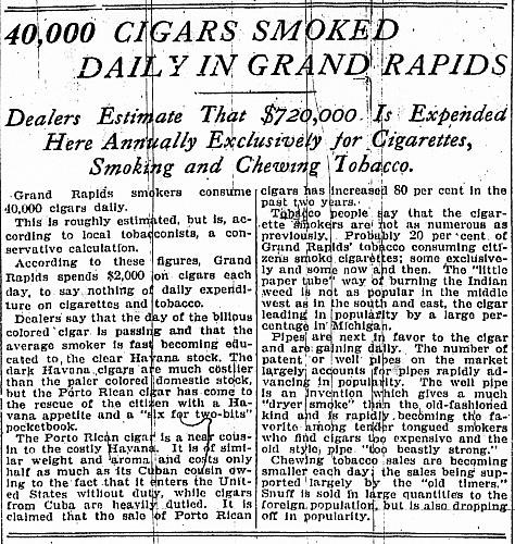 40,000 Cigars Smoked Daily in Grand Rapids