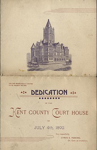 Dedication of the Kent Co. Court House, Cover