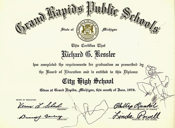 City High School Graduation Certificate