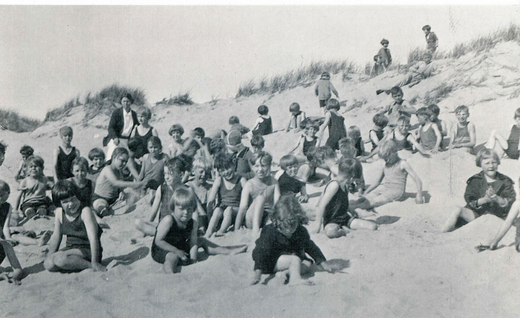 camp blodgett kids at lake michigan