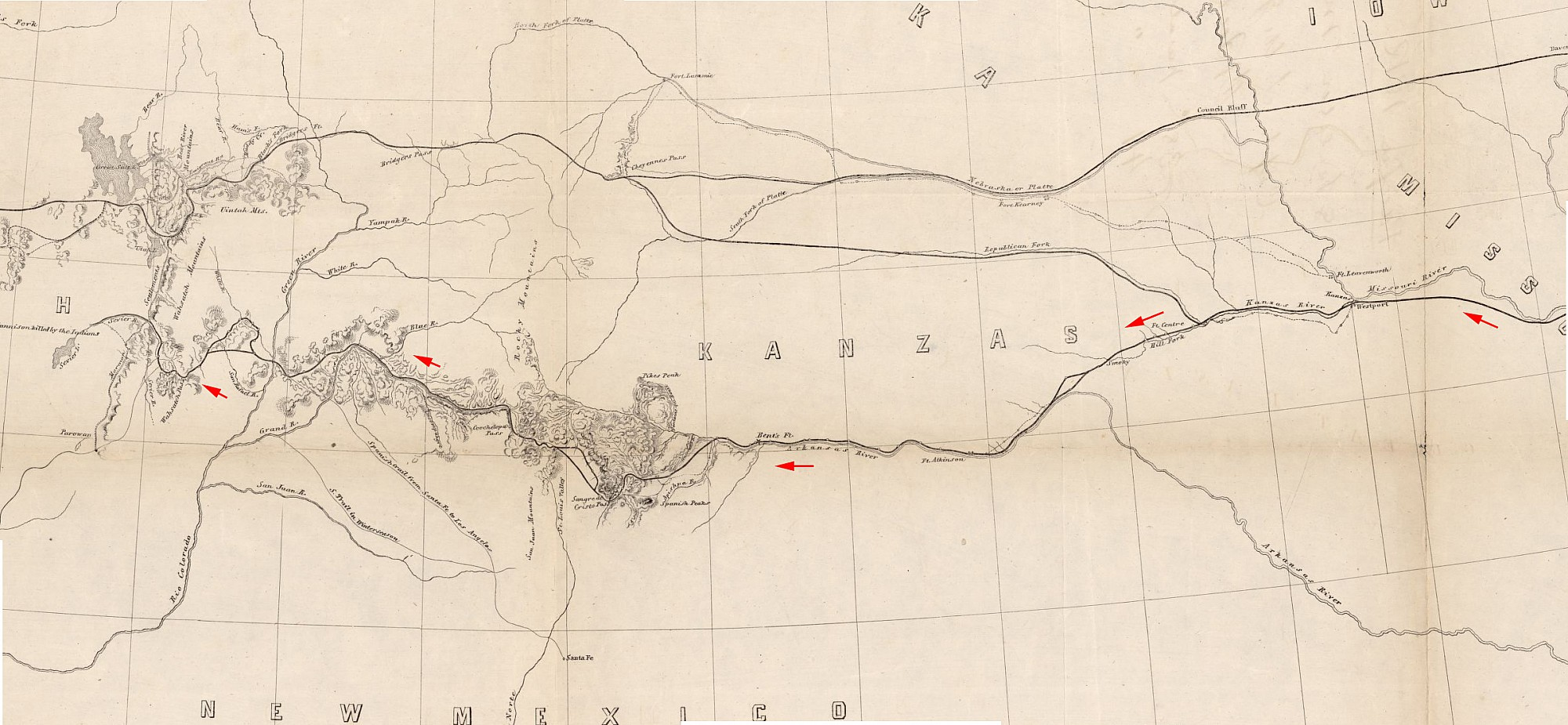 Gunnison\'s Route West from Fort Leavenworth KS, 1853 | History Grand ...