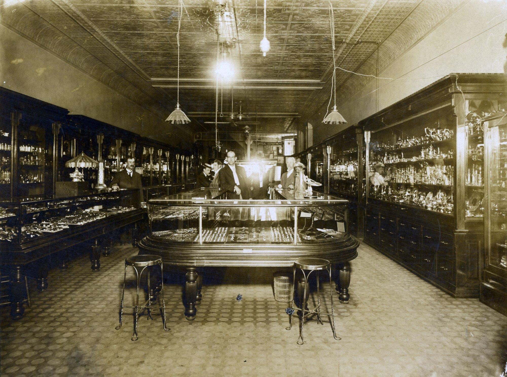 Interior of Herkner Jewelry, 57 Monroe | History Grand Rapids