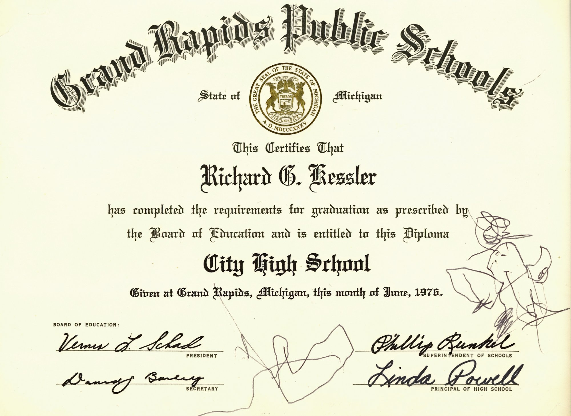 city high school graduation certificate