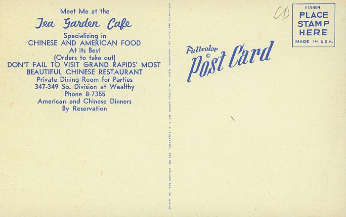 tea garden cafe postcard  back
