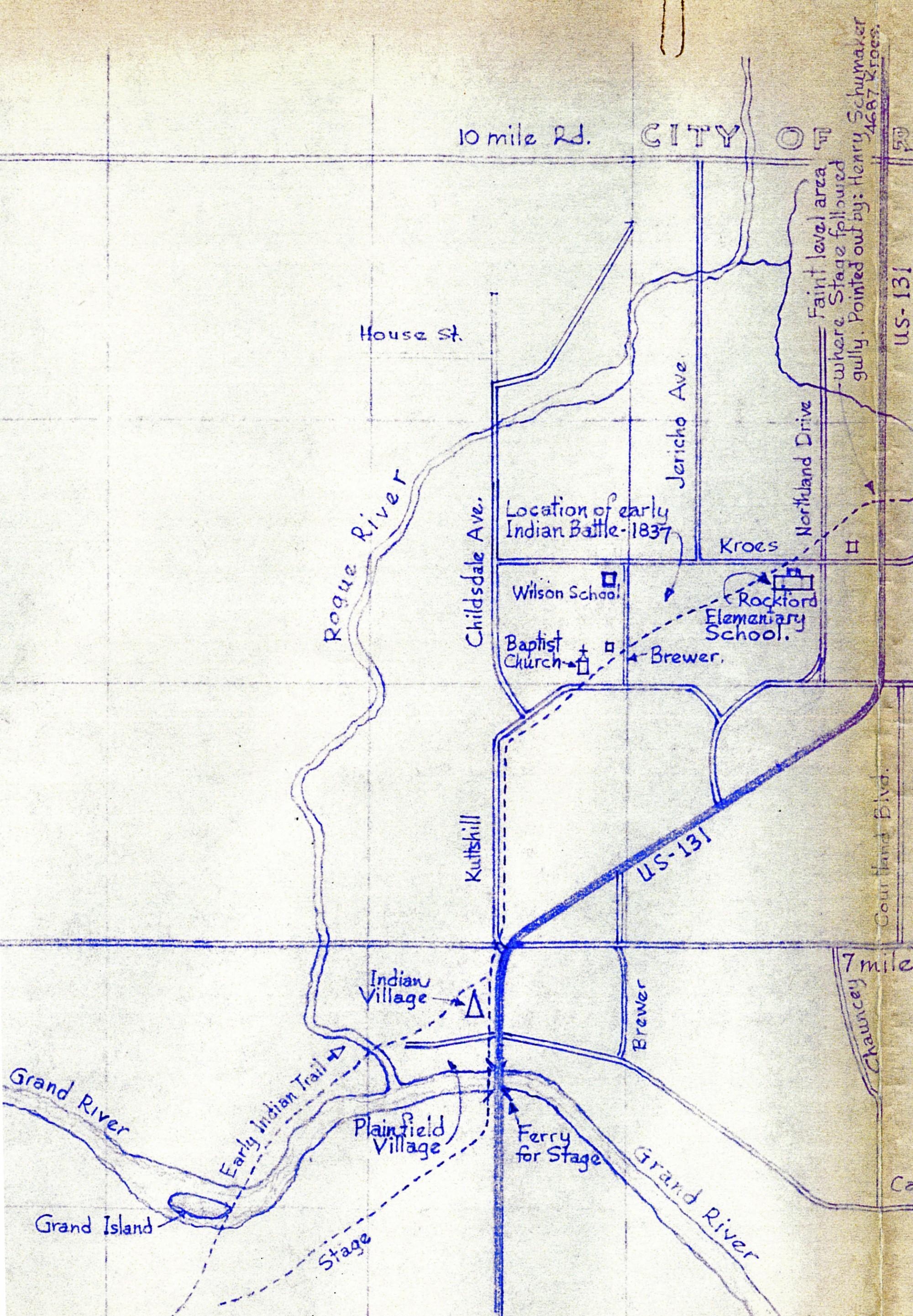 PlainfieldSheridan Indian Trail Stage Mail Route West Of Old - Us 131 map