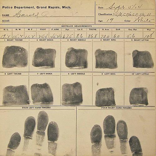 Fingerprint Card, First Side | History Grand Rapids