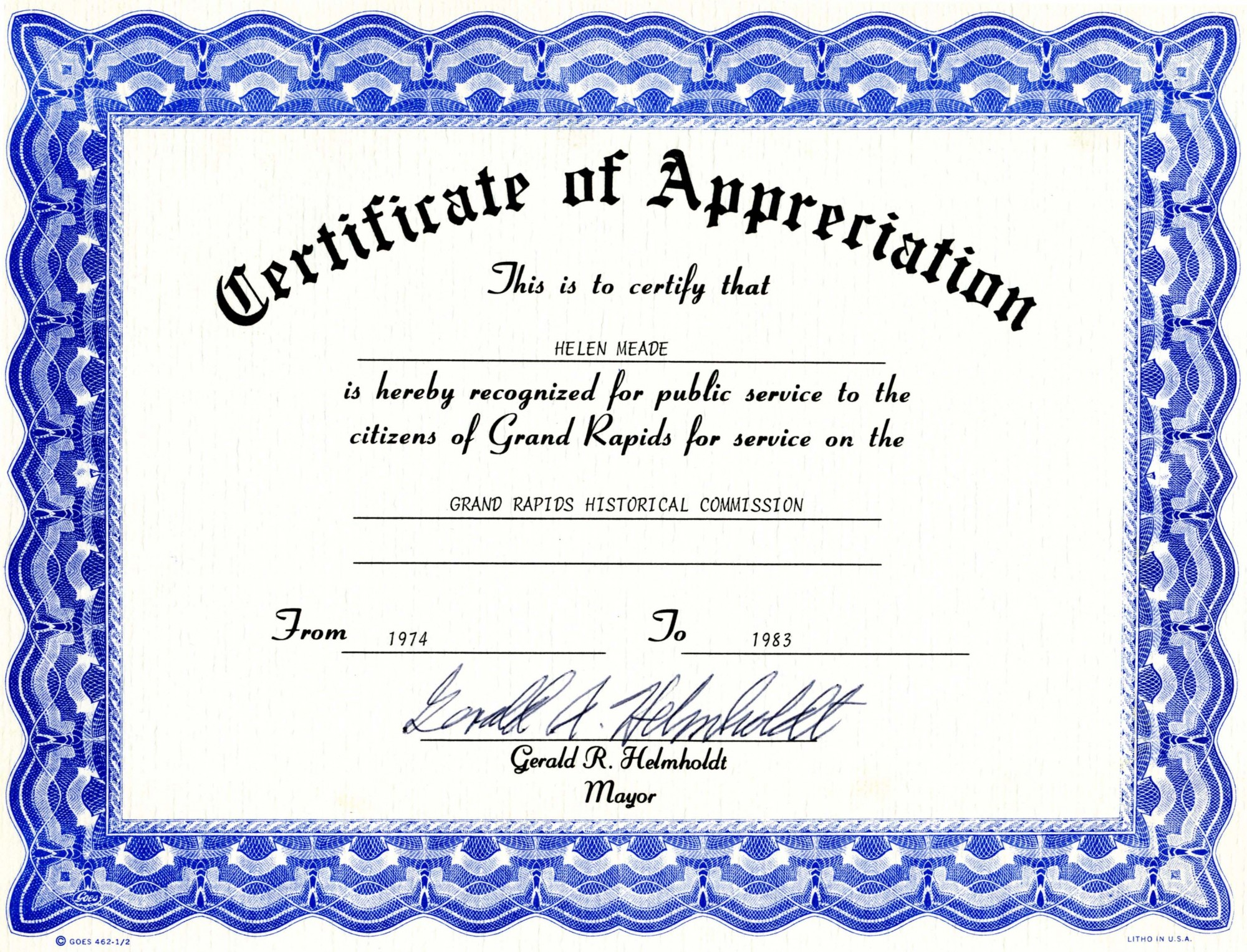Certificate of Appreciation | History Grand Rapids