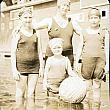 Mother and Daughters in Swim Suits