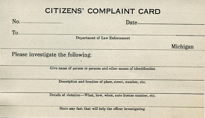 Citizens Complaint Card, Front