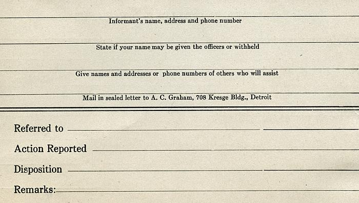 Citizens Complaint Card, Back