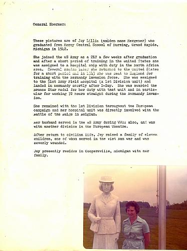Letter and Photograph Regarding WWII Military Nurse, Joy Lillie