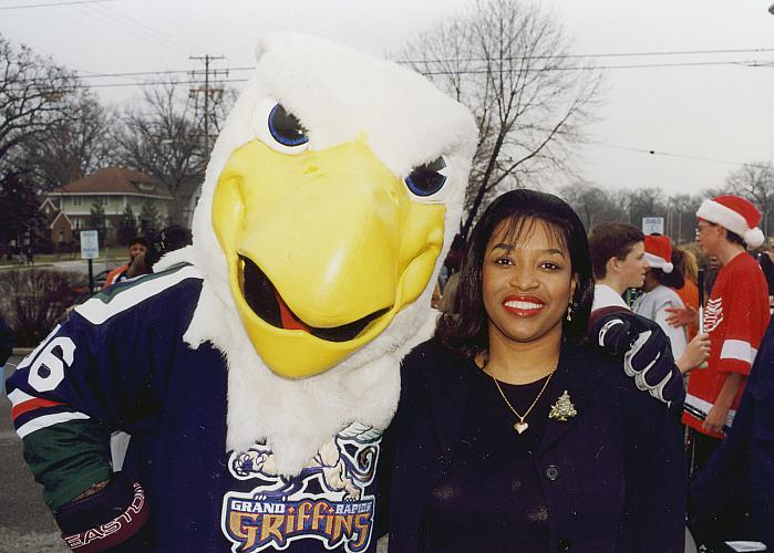 Eddie Rucker with the Griffin Hockey Mascot