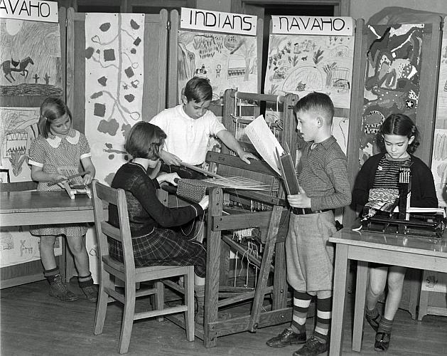 School Children with Looms